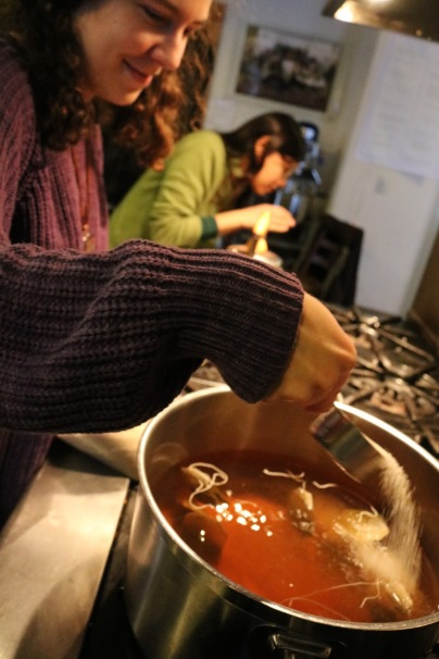 Sophia was producing this big batch of strong and delicious kombucha tea mixing.