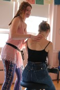 Rebecca Ruplin was showing an example of how to do a neck and shoulder massage for one of the students.